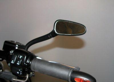 Bologna Spiegel rechts, Gehäuse schwarz mit Adapter für alle Harley-Davidson Modelle